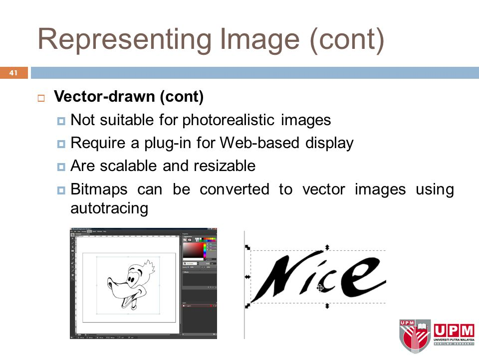 Representing Image (cont)  Vector-drawn (cont)  Not suitable for photorealistic images  Require a plug-in for Web-based display  Are scalable and resizable  Bitmaps can be converted to vector images using autotracing 41