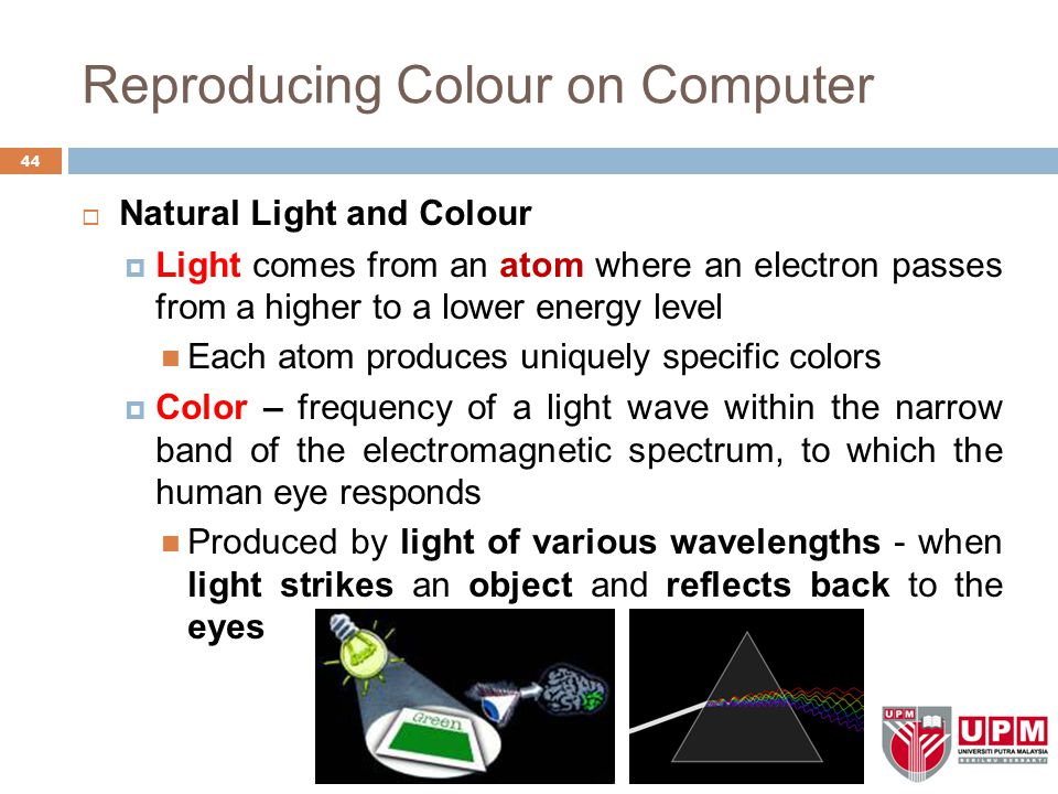 Reproducing Colour on Computer  Natural Light and Colour  Light comes from an atom where an electron passes from a higher to a lower energy level Each atom produces uniquely specific colors  Color – frequency of a light wave within the narrow band of the electromagnetic spectrum, to which the human eye responds Produced by light of various wavelengths - when light strikes an object and reflects back to the eyes 44