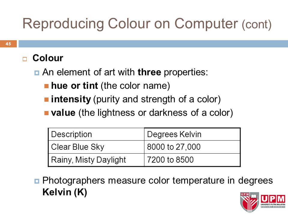 Reproducing Colour on Computer (cont)  Colour  An element of art with three properties: hue or tint (the color name) intensity (purity and strength of a color) value (the lightness or darkness of a color)  Photographers measure color temperature in degrees Kelvin (K) 45 DescriptionDegrees Kelvin Clear Blue Sky8000 to 27,000 Rainy, Misty Daylight7200 to 8500