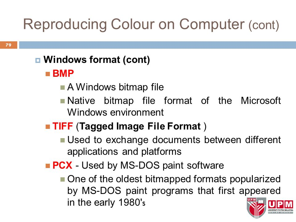 Reproducing Colour on Computer (cont)  Windows format (cont) BMP A Windows bitmap file Native bitmap file format of the Microsoft Windows environment TIFF (Tagged Image File Format ) Used to exchange documents between different applications and platforms PCX - Used by MS-DOS paint software One of the oldest bitmapped formats popularized by MS-DOS paint programs that first appeared in the early 1980 s 79