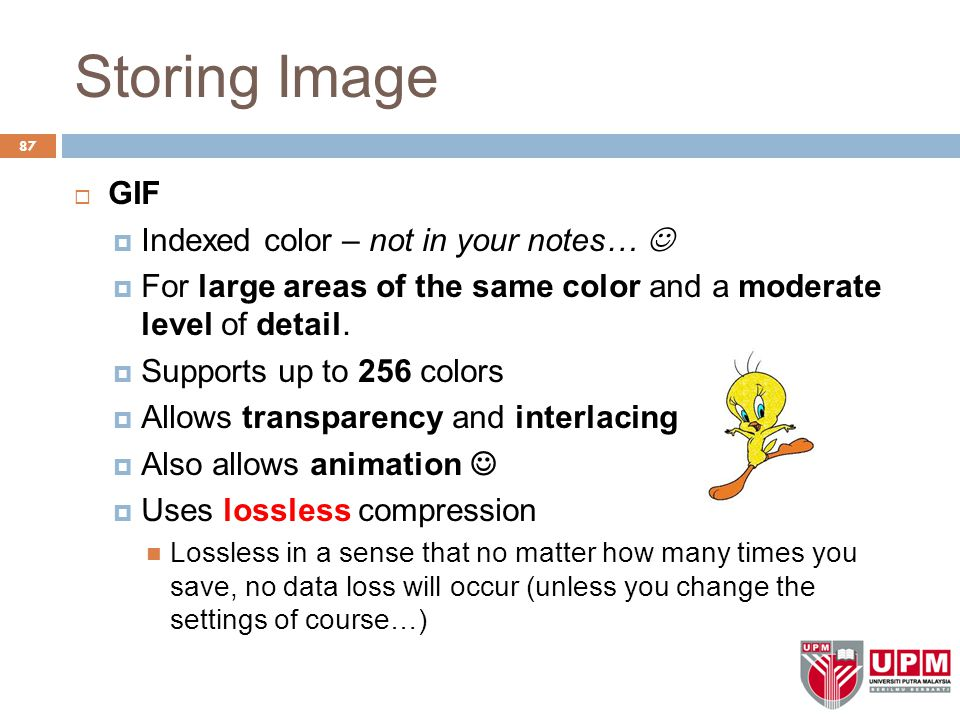 Storing Image  GIF  Indexed color – not in your notes…  For large areas of the same color and a moderate level of detail.