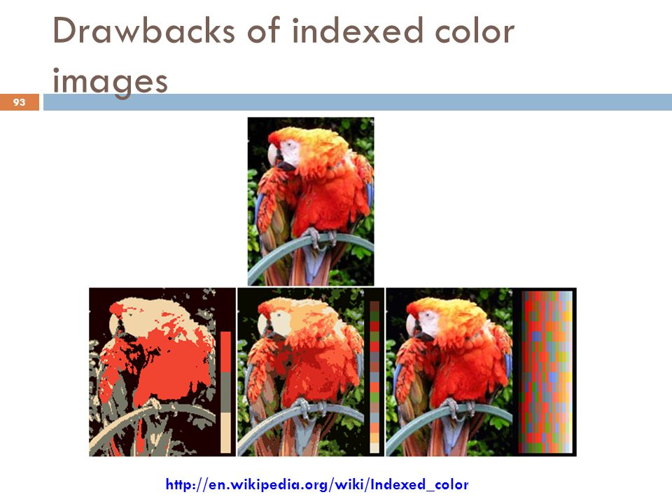Drawbacks of indexed color images 93 http://en.wikipedia.org/wiki/Indexed_color