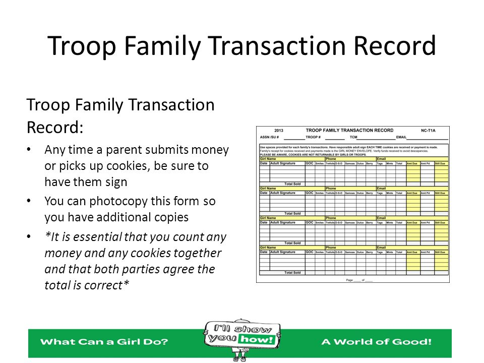 Troop Family Transaction Record Troop Family Transaction Record: Any time a parent submits money or picks up cookies, be sure to have them sign You ca