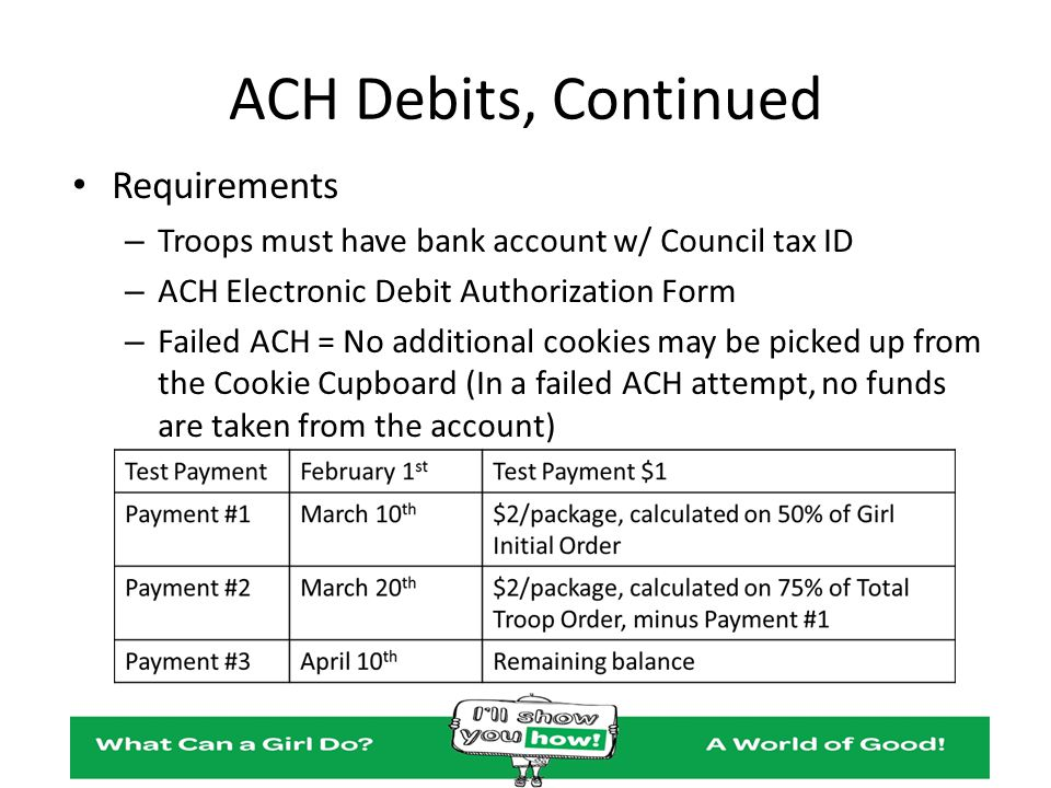 ACH Debits, Continued Requirements – Troops must have bank account w/ Council tax ID – ACH Electronic Debit Authorization Form – Failed ACH = No addit