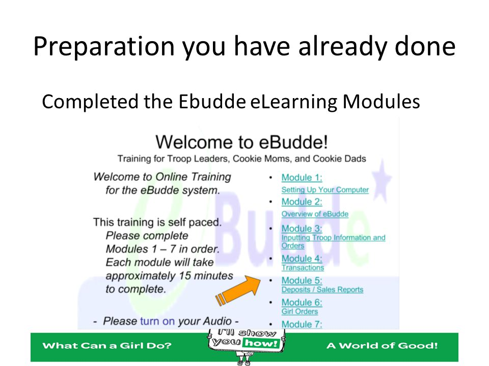 Preparation you have already done Completed the Ebudde eLearning Modules