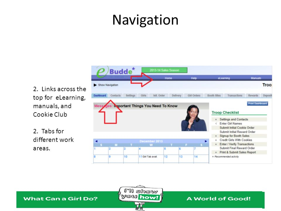 Navigation 2. Links across the top for eLearning, manuals, and Cookie Club 2. Tabs for different work areas.