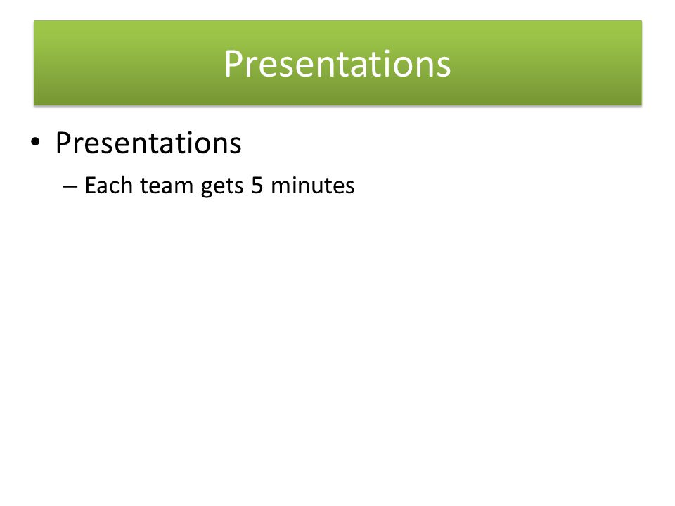 Presentations – Each team gets 5 minutes