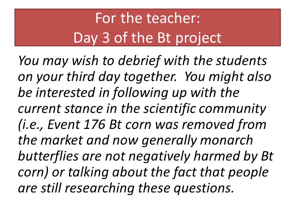 For the teacher: Day 3 of the Bt project You may wish to debrief with the students on your third day together.