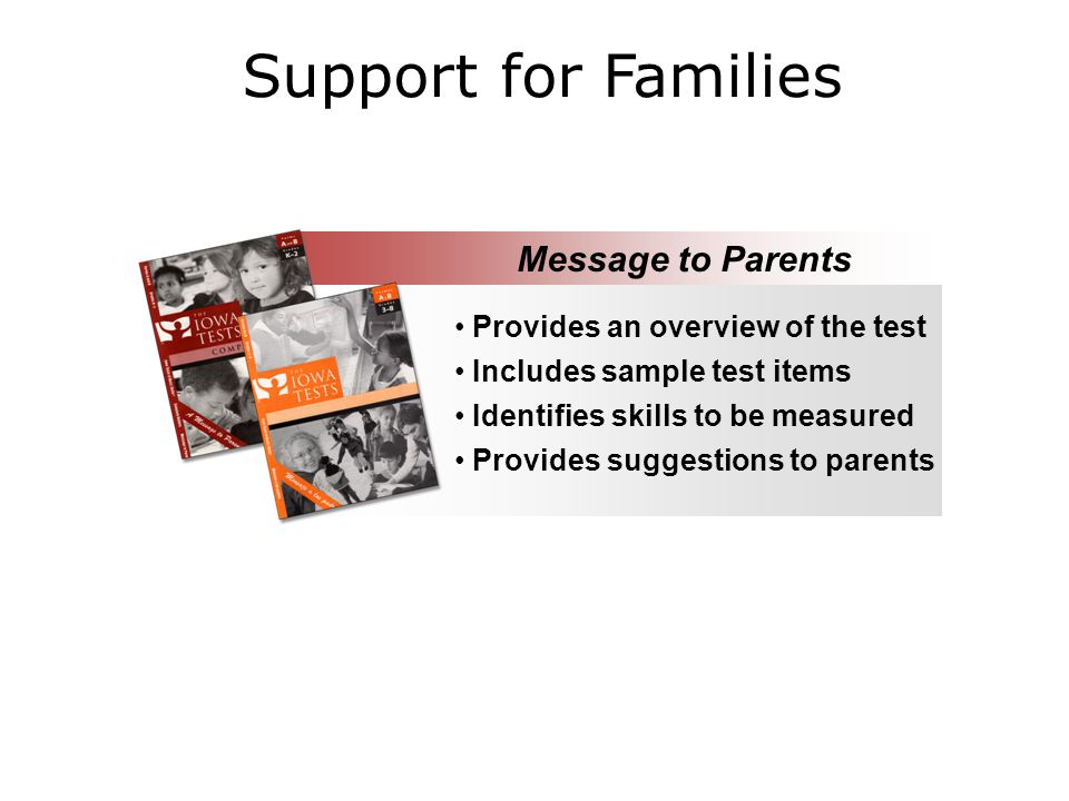 Support for Families Provides an overview of the test Includes sample test items Identifies skills to be measured Provides suggestions to parents Message to Parents