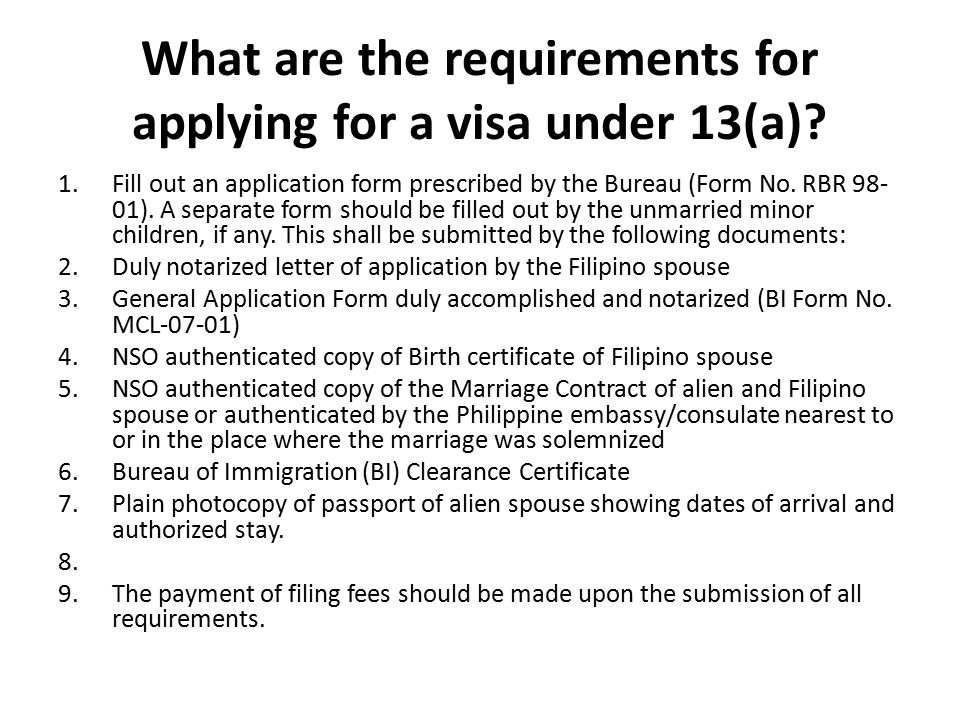 What are the requirements for applying for a visa under 13(a).