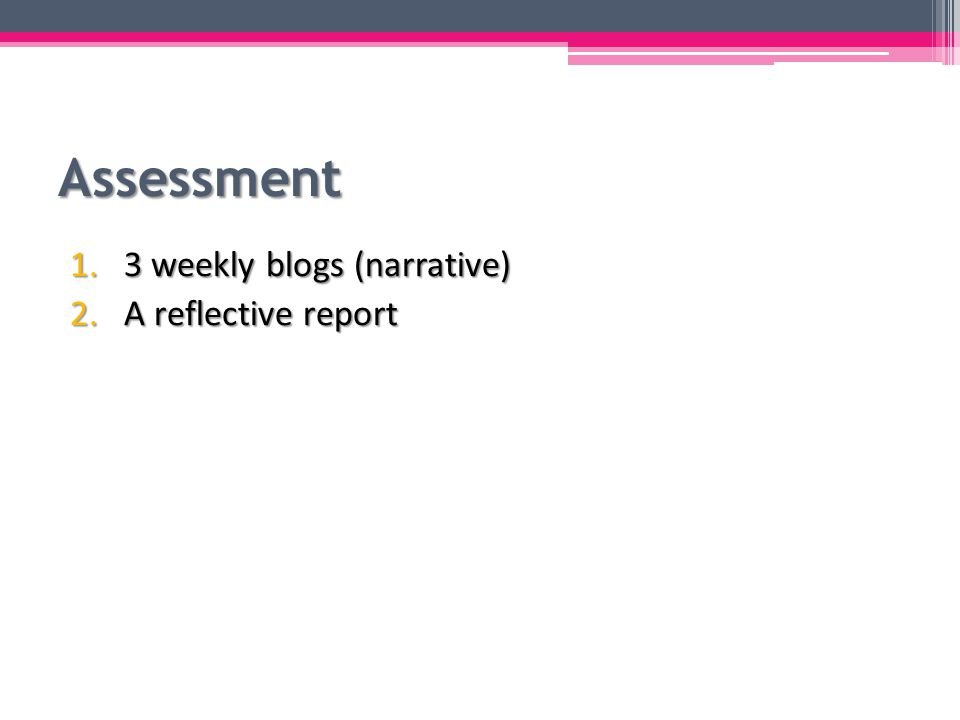 Assessment 1.3 weekly blogs (narrative) ▫ Highlights of the week, with photos/videos ▫ 300-400 words each, either Chinese or English ▫ To be submitted to Mahara each Sunday night by 11:59pm Create a Summer Camp page Add to the group created by the course coordinators Share your page to the group