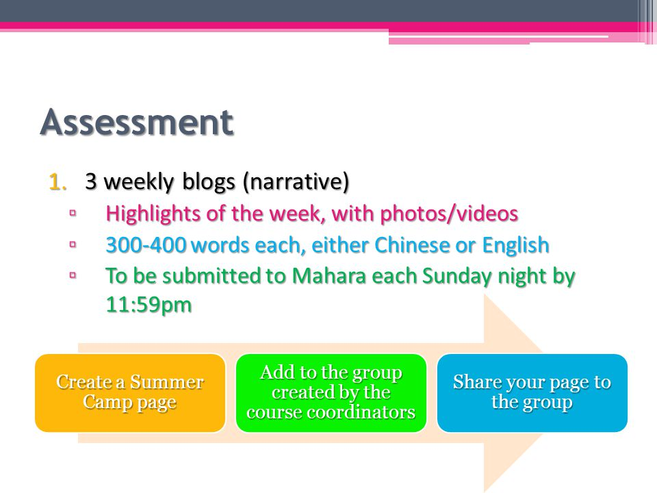 Assessment 2.A reflective report ▫ A reflection of your whole summer camp experience ▫ 1,000-1,200 words + a synopsis (about 20% of the total length you have written) ▫ The report could be written in either Chinese or English, but the synopsis has to be in the other language ▫ To be submitted to both Mahara and Moodle by July 5, 11:59pm