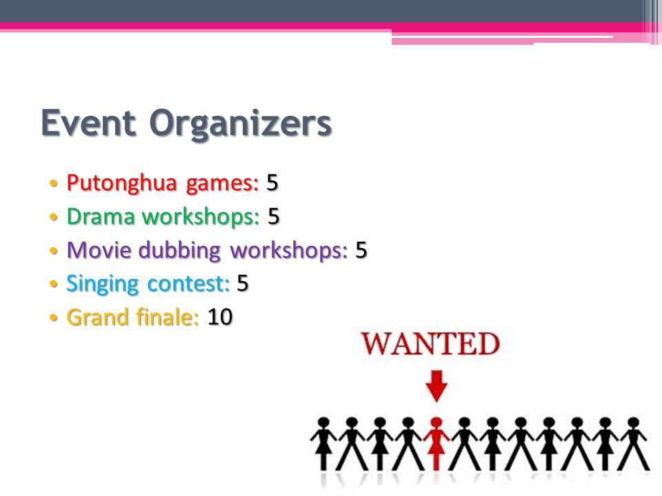 Event Organizers Putonghua games: 5 Putonghua games: 5 Drama workshops: 5 Drama workshops: 5 Movie dubbing workshops: 5 Movie dubbing workshops: 5 Singing contest: 5 Singing contest: 5 Grand finale: 10 Grand finale: 10