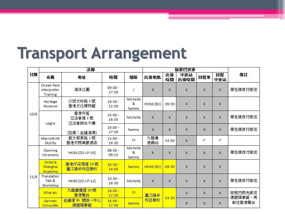 Transport Arrangement