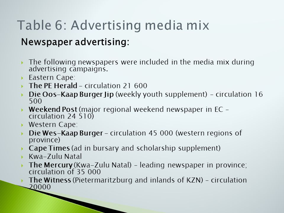 Newspaper advertising:  The following newspapers were included in the media mix during advertising campaigns.  Eastern Cape:  The PE Herald – circu