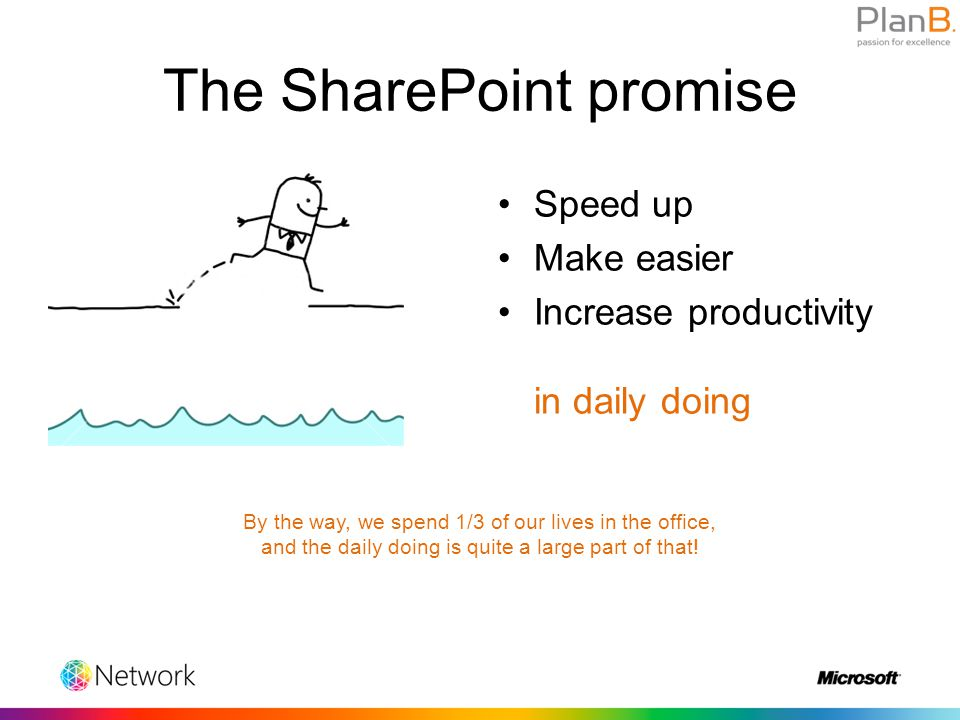 The SharePoint promise Speed up Make easier Increase productivity in daily doing By the way, we spend 1/3 of our lives in the office, and the daily doing is quite a large part of that!