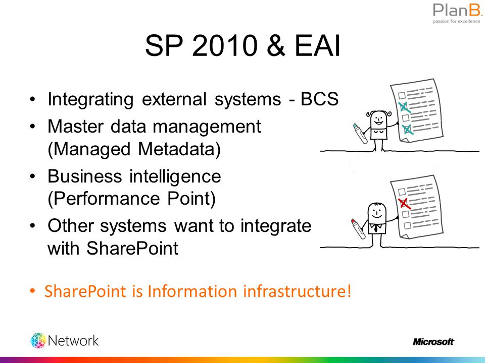 Integrating external systems - BCS Master data management (Managed Metadata) Business intelligence (Performance Point) Other systems want to integrate with SharePoint SP 2010 & EAI SharePoint is Information infrastructure!