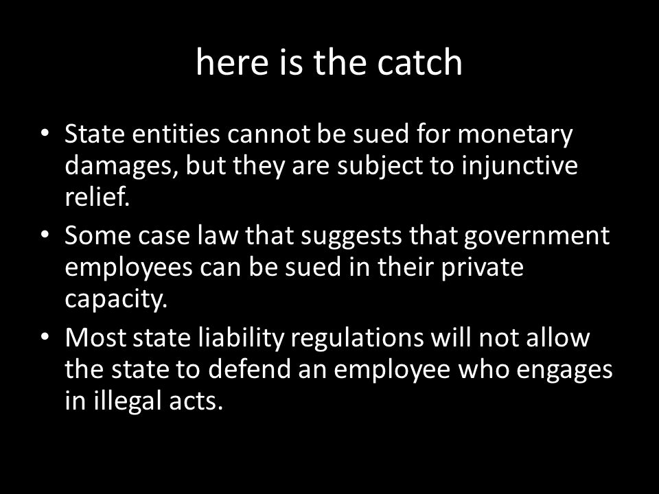 here is the catch State entities cannot be sued for monetary damages, but they are subject to injunctive relief. Some case law that suggests that gove