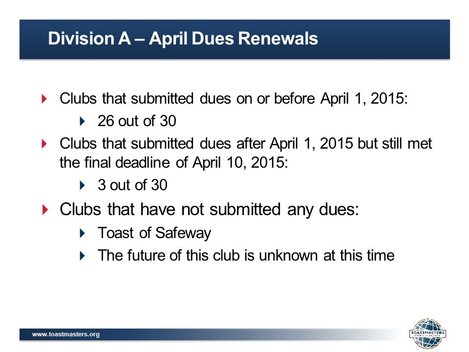 www.toastmasters.org  Clubs that submitted dues on or before April 1, 2015:  26 out of 30  Clubs that submitted dues after April 1, 2015 but still