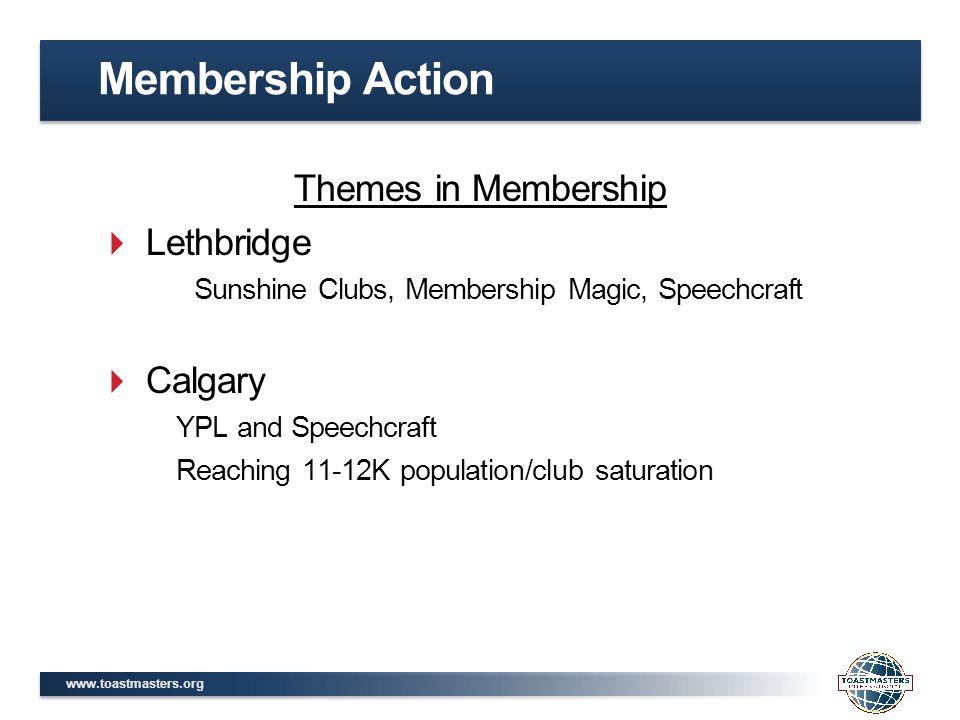 www.toastmasters.org Themes in Membership  Lethbridge Sunshine Clubs, Membership Magic, Speechcraft  Calgary YPL and Speechcraft Reaching 11-12K pop