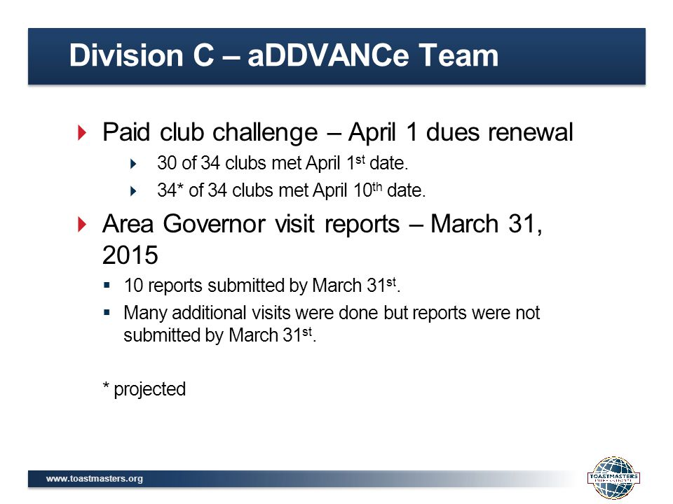 www.toastmasters.org  Paid club challenge – April 1 dues renewal  30 of 34 clubs met April 1 st date.  34* of 34 clubs met April 10 th date.  Area