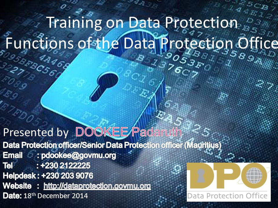 Training on Data Protection Functions of the Data Protection Office