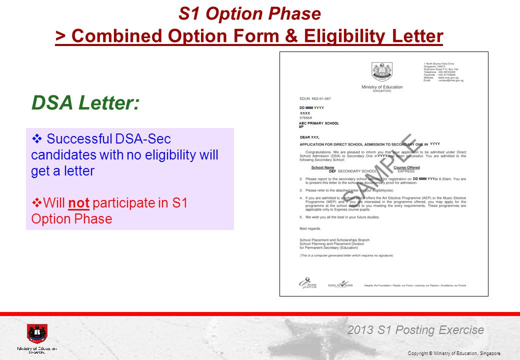 Copyright © Ministry of Education, Singapore.  Successful DSA-Sec candidates with no eligibility will get a letter  Will not participate in S1 Optio