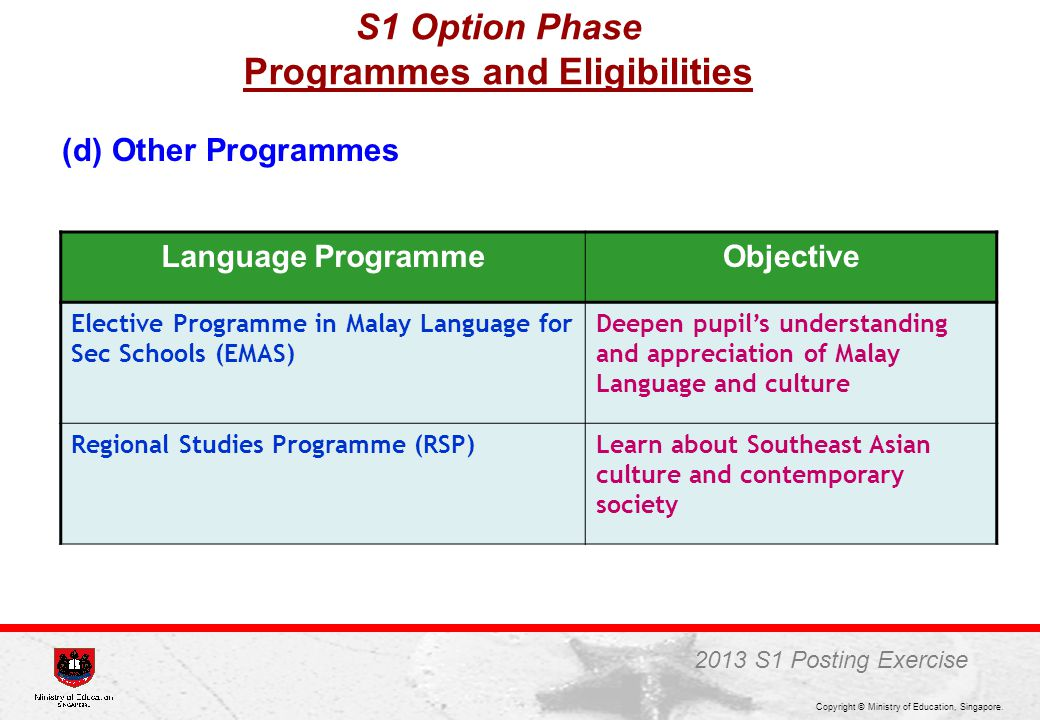 Copyright © Ministry of Education, Singapore. (d) Other Programmes Language ProgrammeObjective Elective Programme in Malay Language for Sec Schools (E