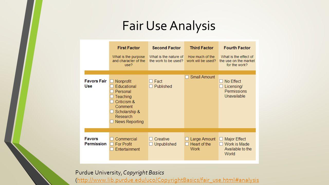 Fair Use Analysis Purdue University, Copyright Basics (http://www.lib.purdue.edu/uco/CopyrightBasics/fair_use.html#analysishttp://www.lib.purdue.edu/uco/CopyrightBasics/fair_use.html#analysis