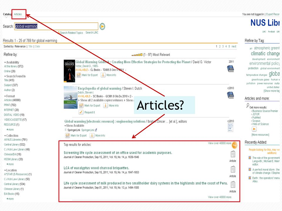Articles tab in LINC+ only covers a few databases