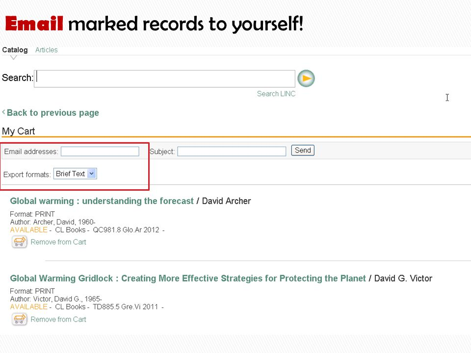 Email marked records to yourself!