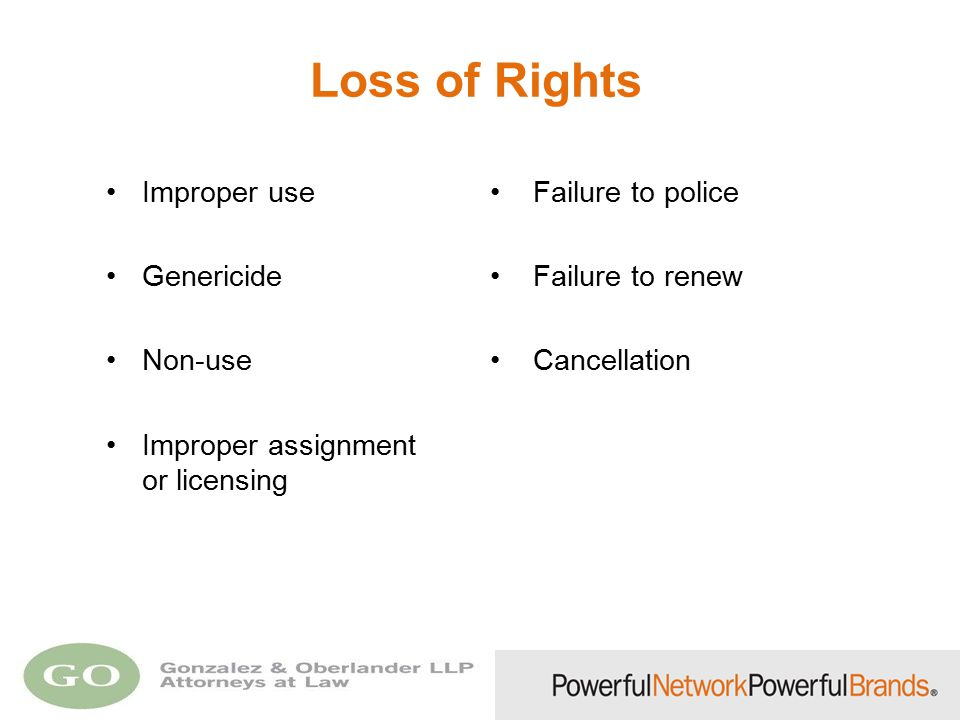 Loss of Rights Improper use Failure to police Genericide Failure to renew Non-use Cancellation Improper assignment or licensing