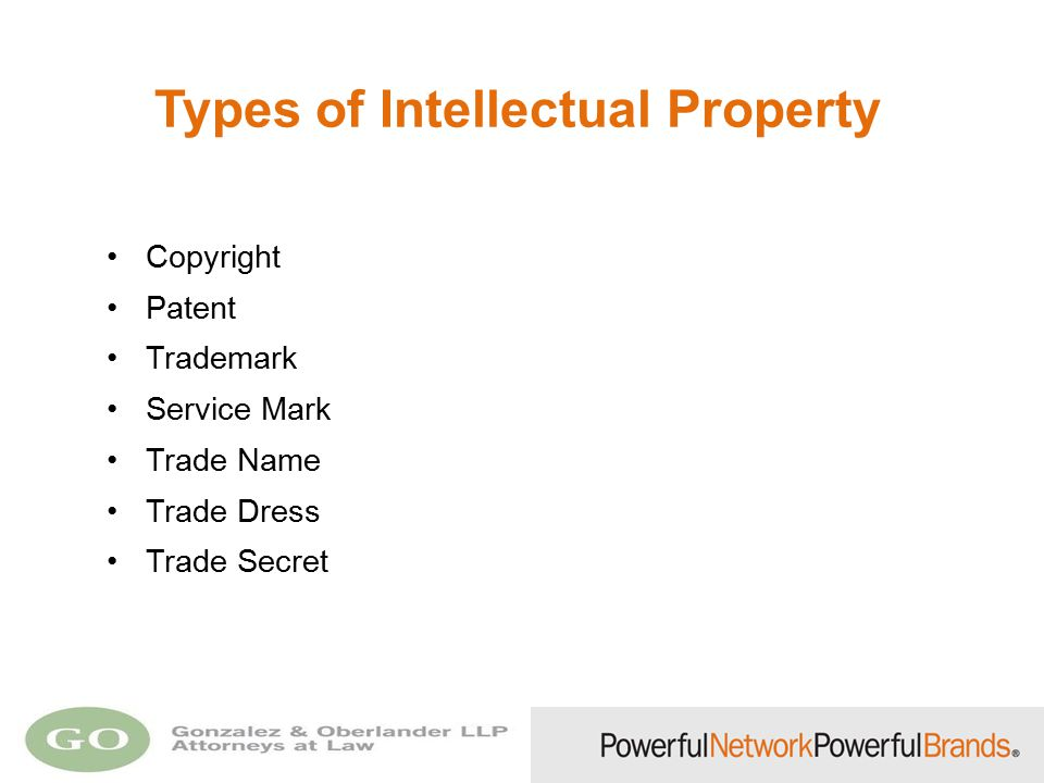 Types of Intellectual Property Copyright Patent Trademark Service Mark Trade Name Trade Dress Trade Secret