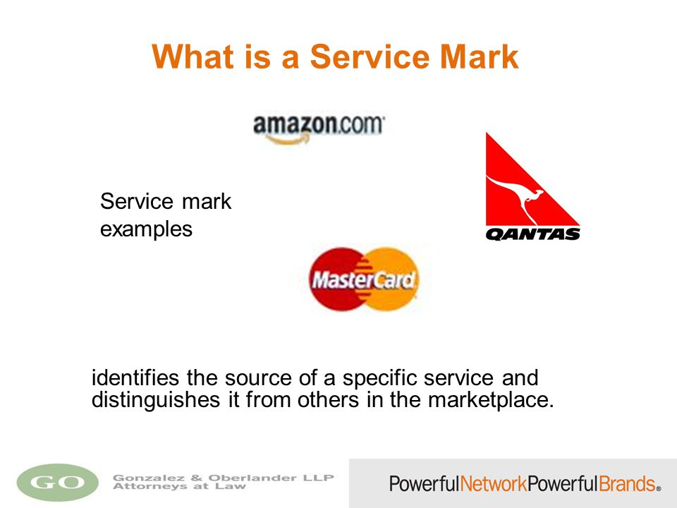 What is a Service Mark Service mark examples identifies the source of a specific service and distinguishes it from others in the marketplace.