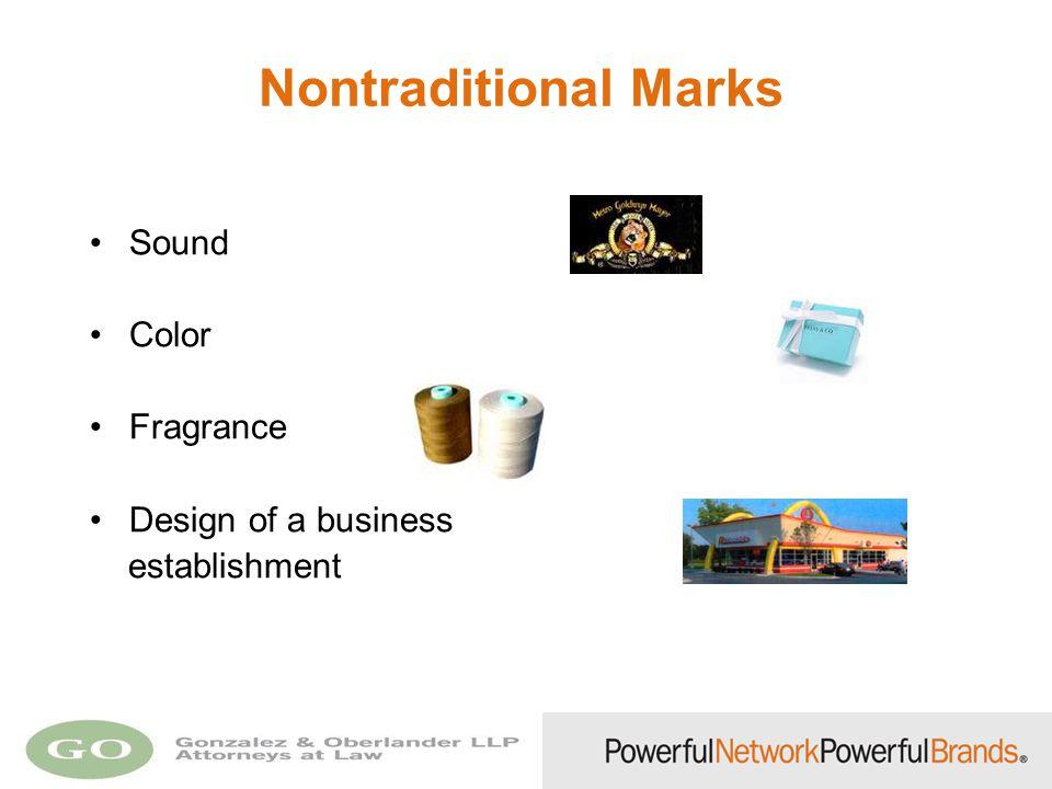 Nontraditional Marks Sound Color Fragrance Design of a business establishment