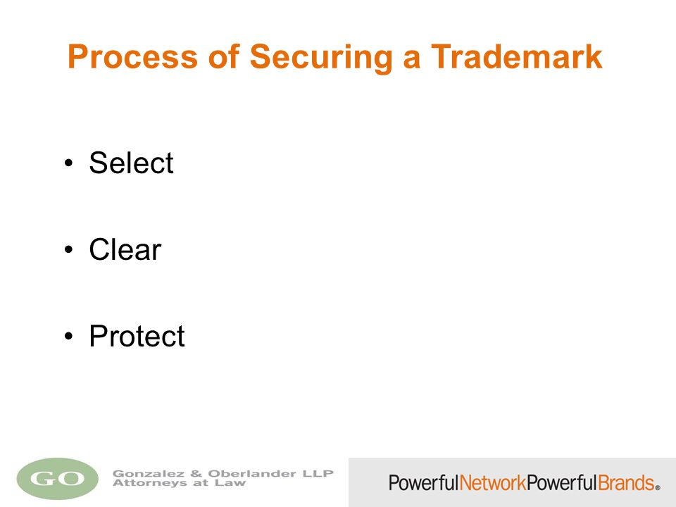 Process of Securing a Trademark Select Clear Protect