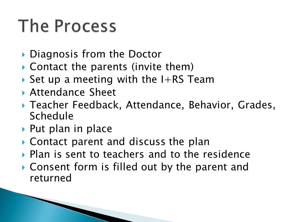  Diagnosis from the Doctor  Contact the parents (invite them)  Set up a meeting with the I+RS Team  Attendance Sheet  Teacher Feedback, Attendance, Behavior, Grades, Schedule  Put plan in place  Contact parent and discuss the plan  Plan is sent to teachers and to the residence  Consent form is filled out by the parent and returned