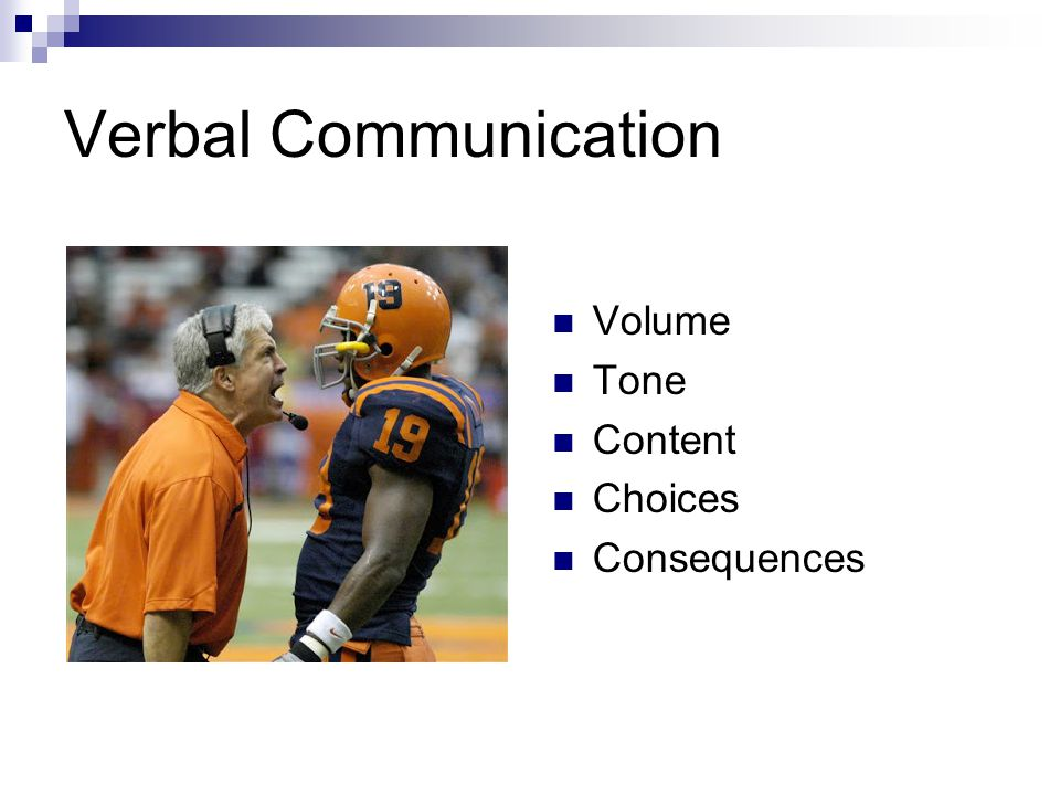 Verbal Communication Volume Tone Content Choices Consequences