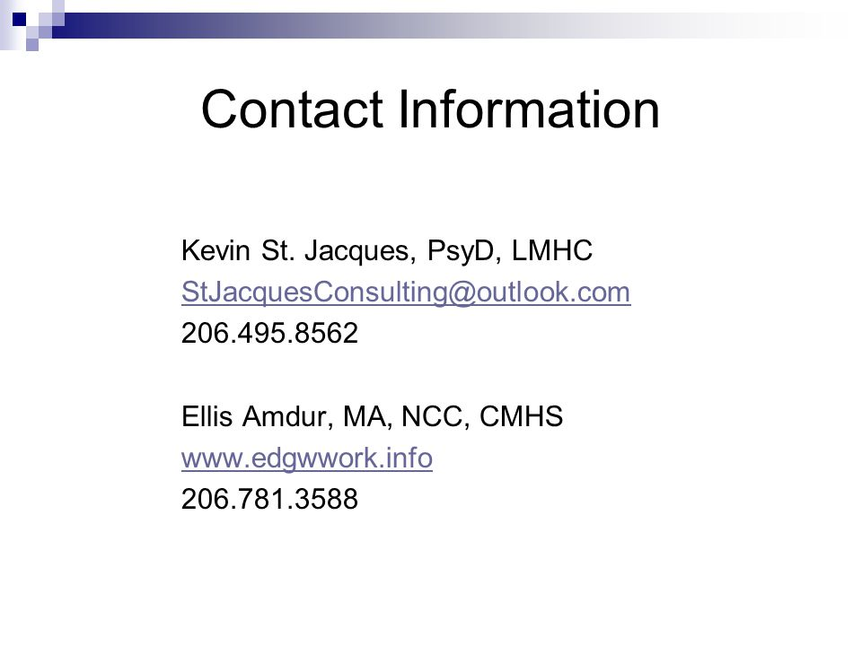 Contact Information Kevin St.