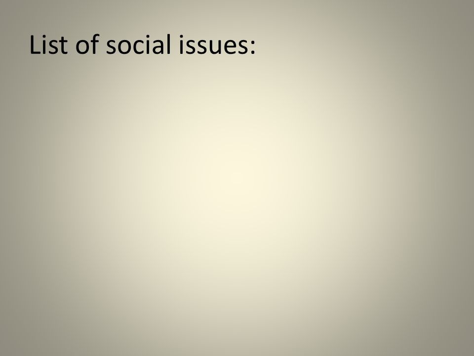 List of social issues: