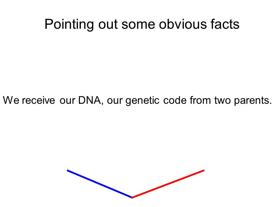 Pointing out some obvious facts We receive our DNA, our genetic code from two parents.