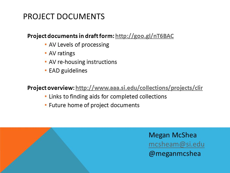PROJECT DOCUMENTS Project documents in draft form: http://goo.gl/nT6BAChttp://goo.gl/nT6BAC AV Levels of processing AV ratings AV re-housing instructi