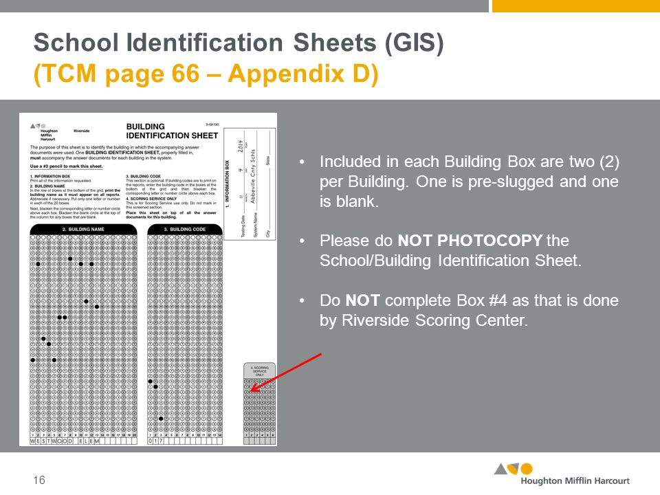 School Identification Sheets (GIS) (TCM page 66 – Appendix D) 16 Included in each Building Box are two (2) per Building.