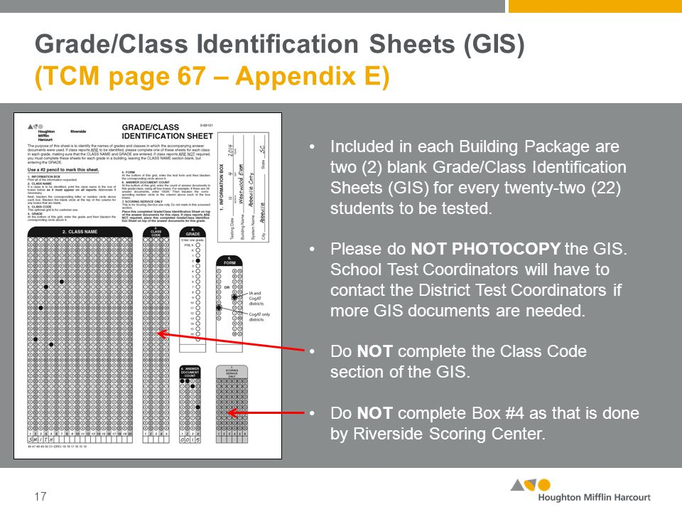 Grade/Class Identification Sheets (GIS) (TCM page 67 – Appendix E) 17 Included in each Building Package are two (2) blank Grade/Class Identification S