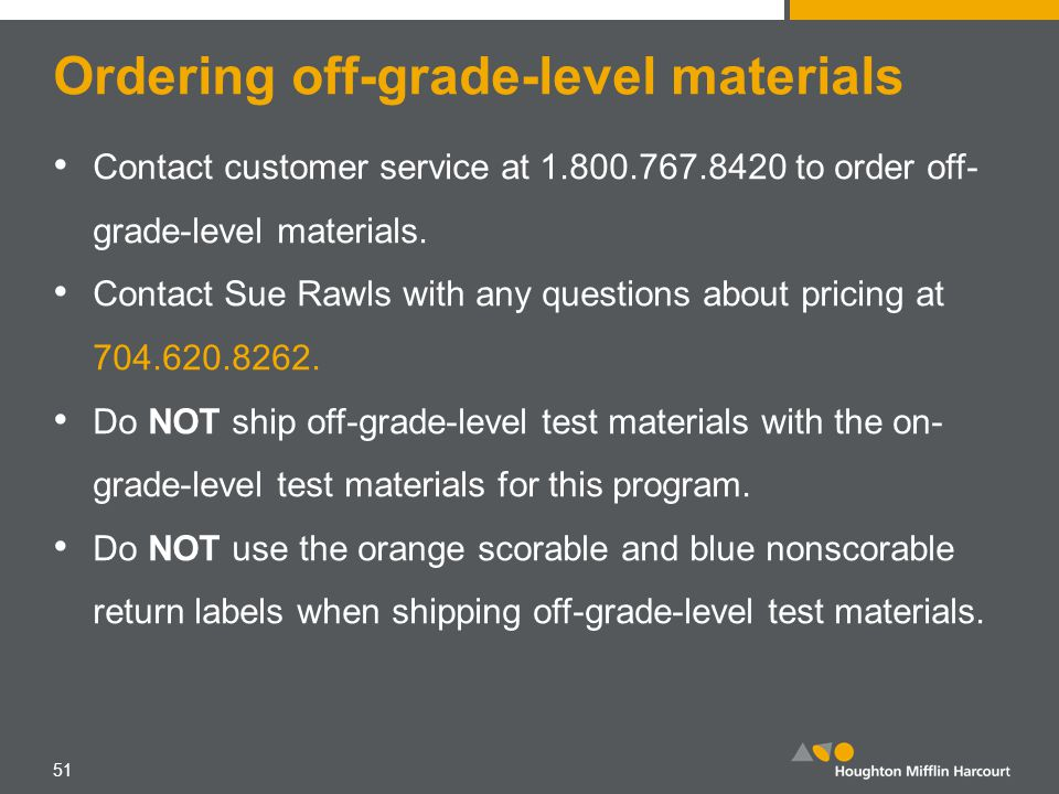 Ordering off-grade-level materials Contact customer service at 1.800.767.8420 to order off- grade-level materials. Contact Sue Rawls with any question