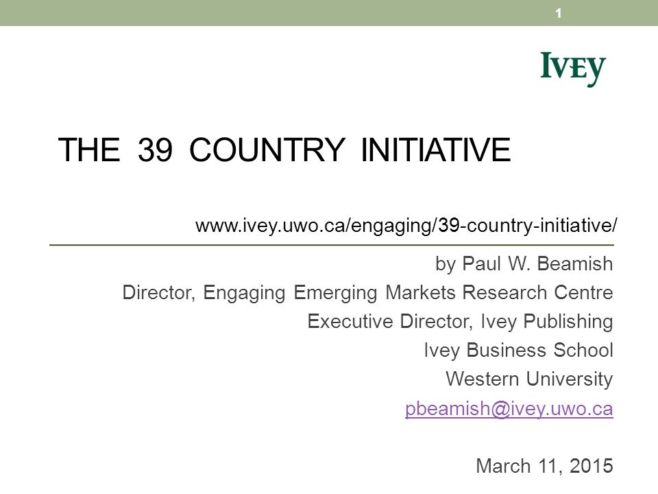THE 39 COUNTRY INITIATIVE by Paul W.
