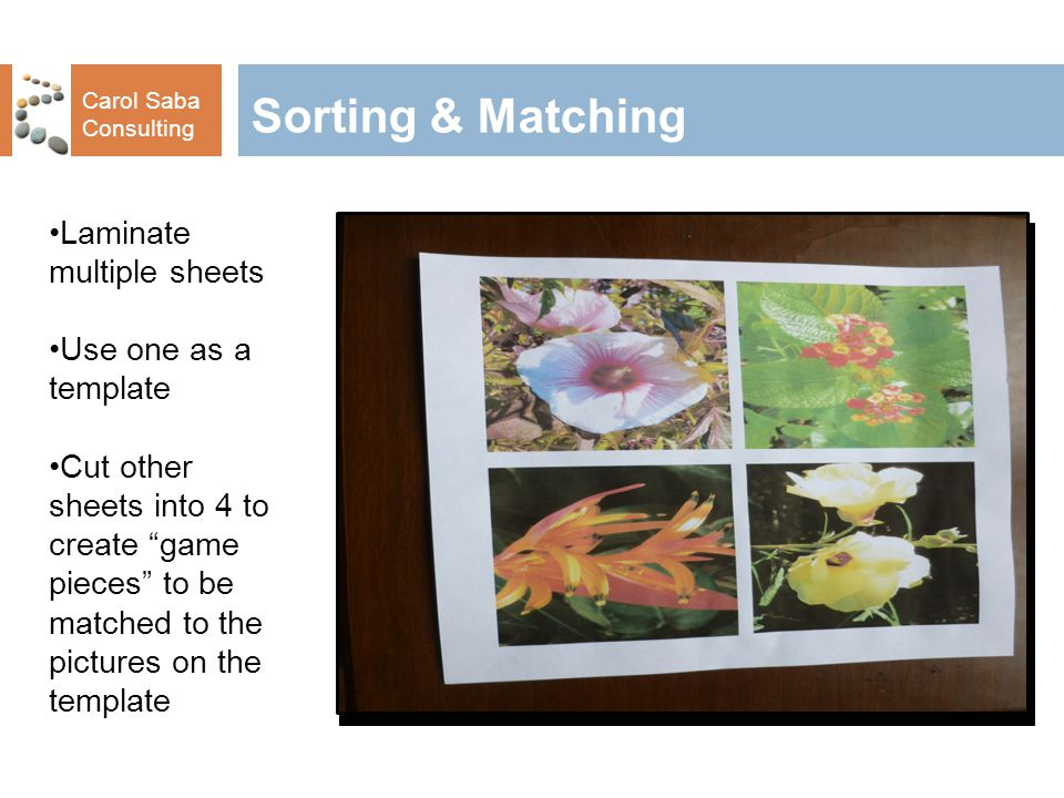 Carol Saba Consulting Sorting & Matching Laminate multiple sheets Use one as a template Cut other sheets into 4 to create game pieces to be matched to the pictures on the template