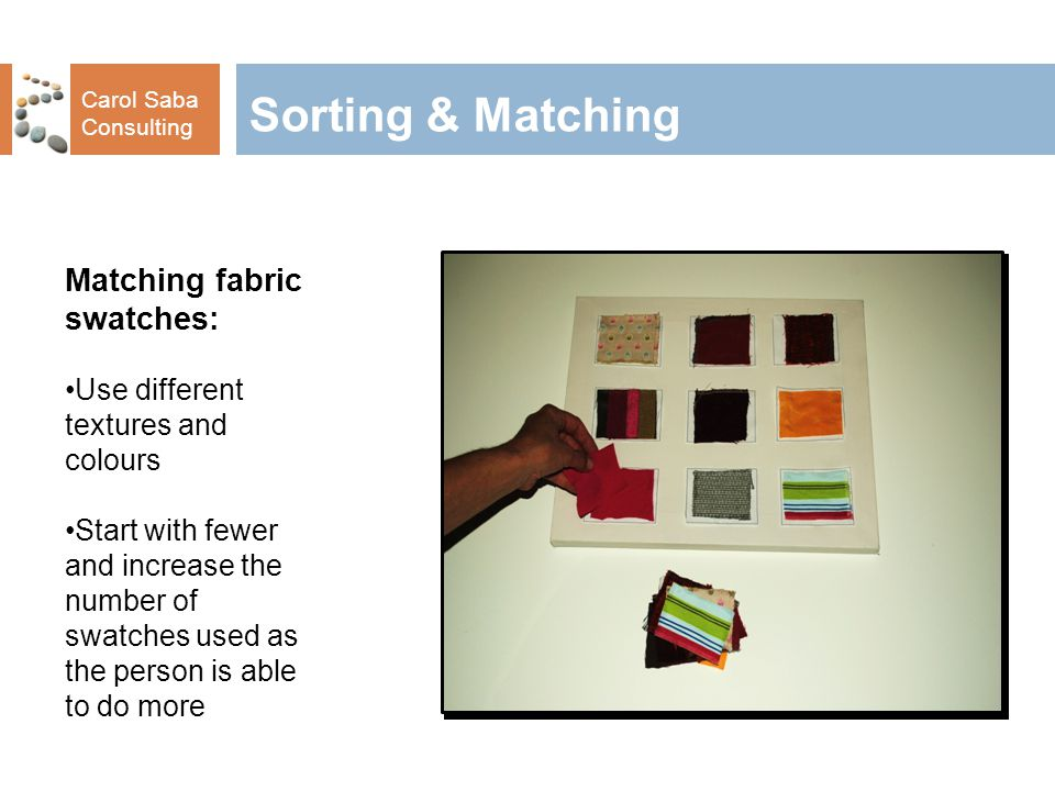 Carol Saba Consulting Sorting & Matching Stacking different coloured cones: Demonstrate sorting by colour