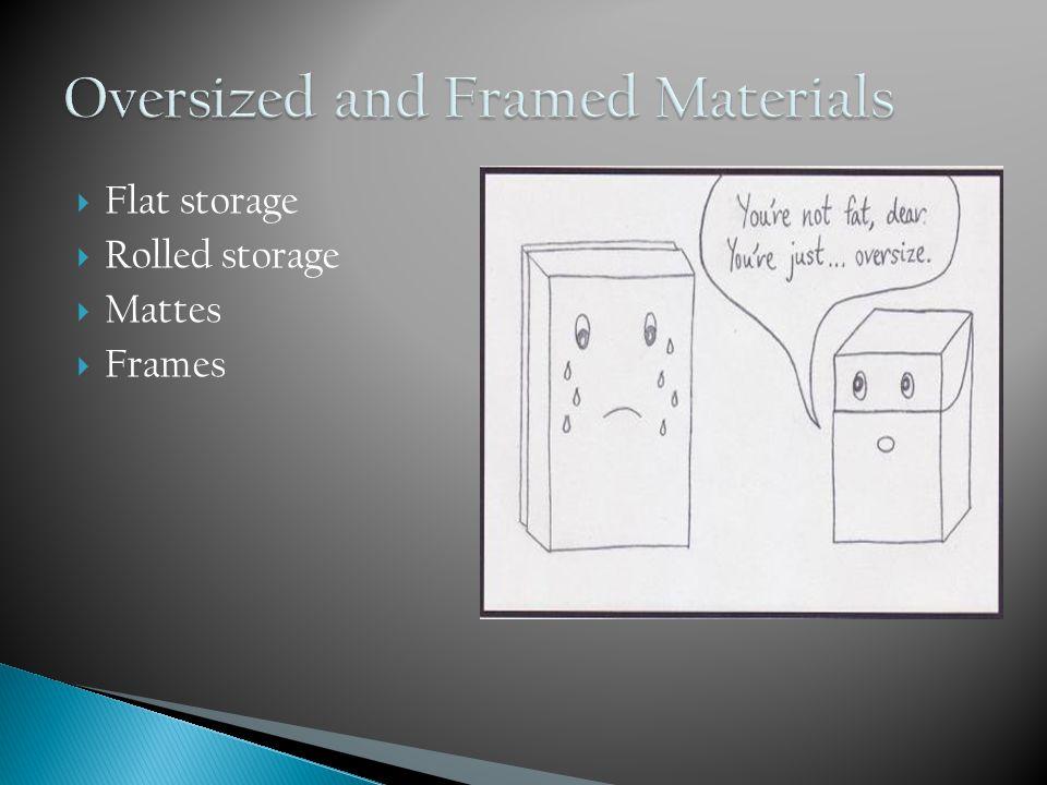 Flat storage  Rolled storage  Mattes  Frames