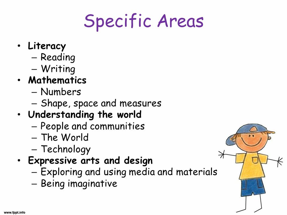 Specific Areas Literacy – Reading – Writing Mathematics – Numbers – Shape, space and measures Understanding the world – People and communities – The World – Technology Expressive arts and design – Exploring and using media and materials – Being imaginative